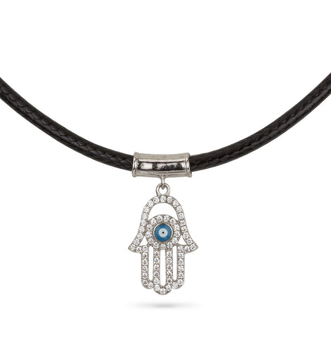 Hamsa Hand and Evil Eye Leather Choker Silver 925