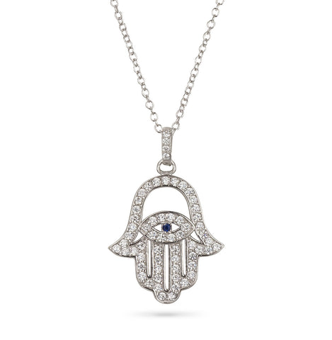 Hamsa Hand and Evil Eye Filigree Pendant Silver 925