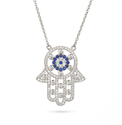 Hamsa Hand and Evil Eye Large Filigree Pendant Silver 925
