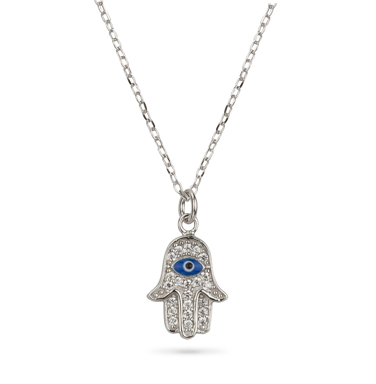 Hamsa Hand and Evil Eye Pave Delicate Pendant Silver 925