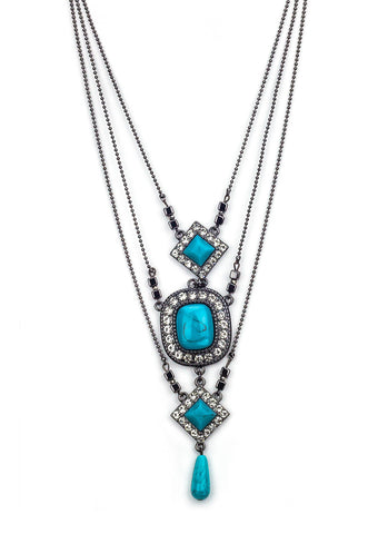 Melinda Black Turquoise Necklace