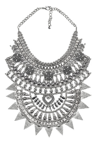 Silvertone Goddess Statement Necklace