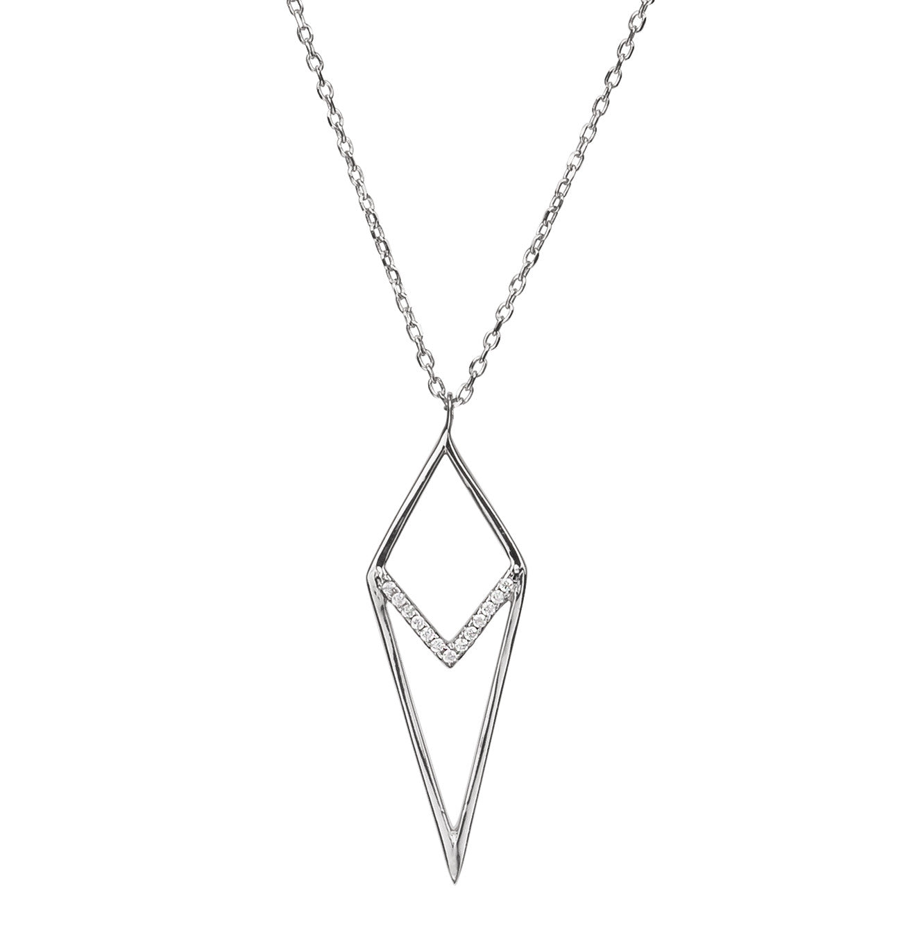 Archer Shaped Triangle Delicate Pendant Silver 925