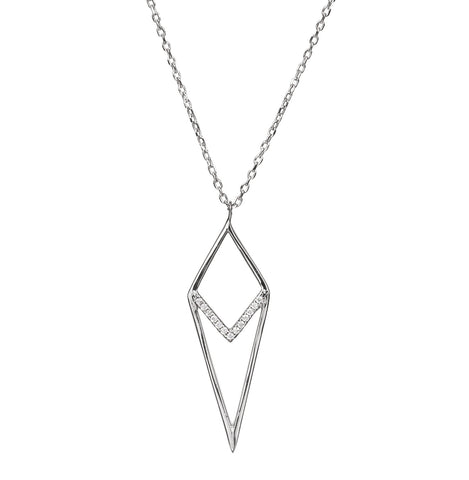 Spike CZ Pendant Necklace - Silver 925