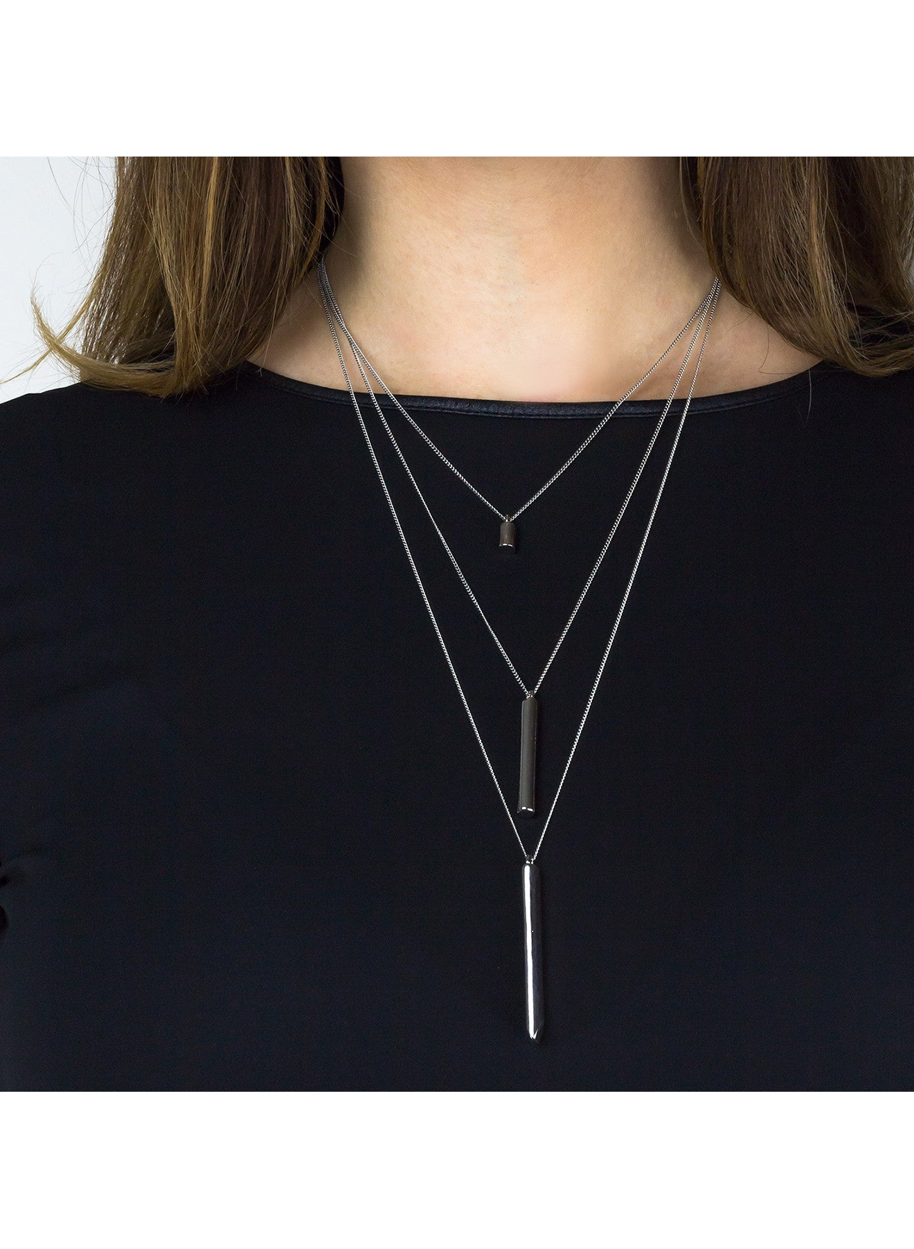 Triplet Cylinder Layered Necklace - Gold