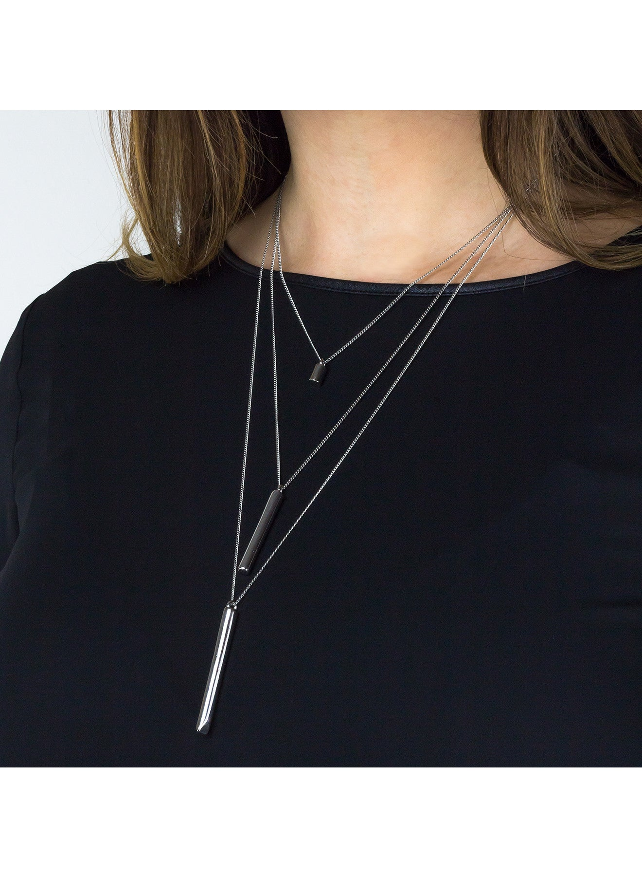 Triplet Cylinder Layered Necklace - Silver
