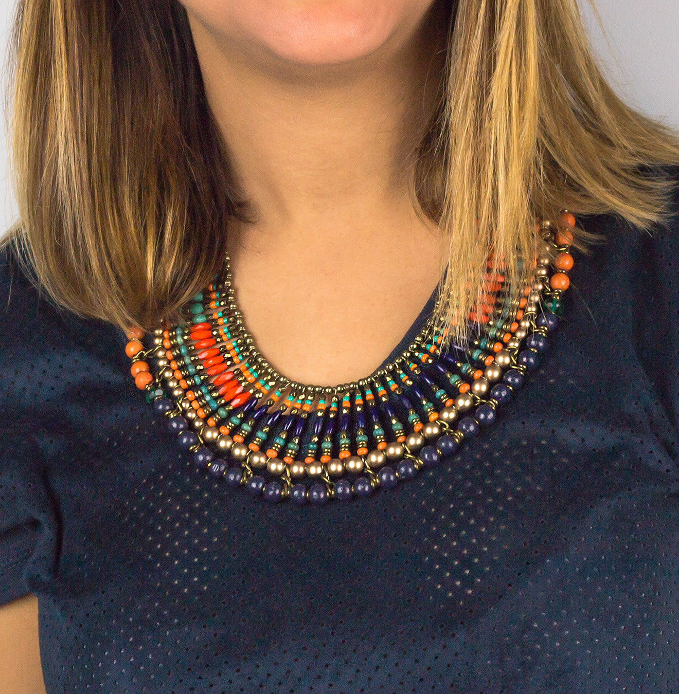 Multi Color Beaded Statement Necklace