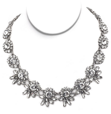 Sparkly Floral Bib Necklace