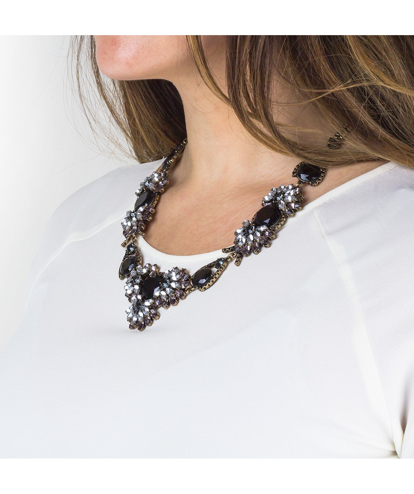 Black Floral Statement Necklace