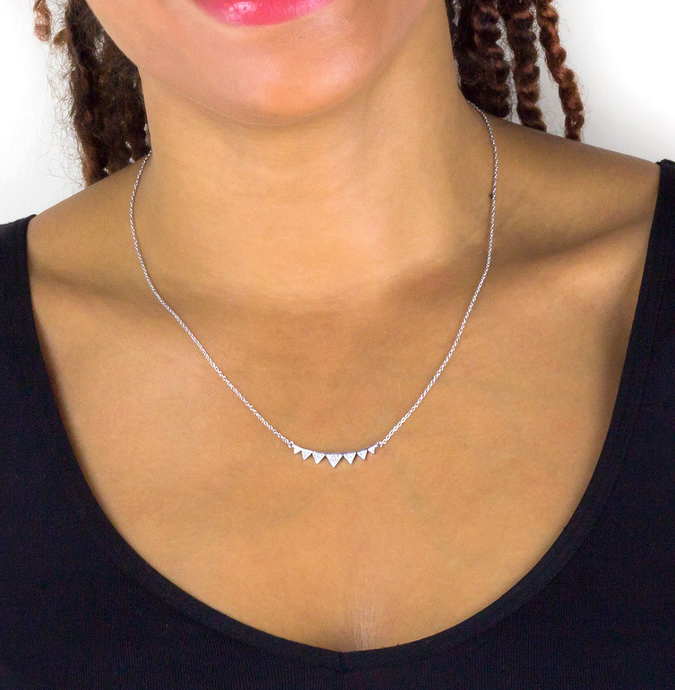Spiky Bar Pendant Necklace - Silver 925
