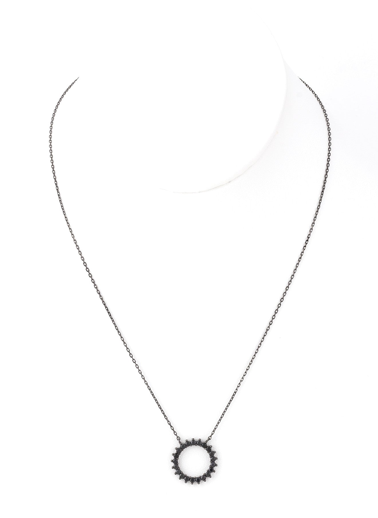 Black Circle CZ Pendant Necklace - Silver 925