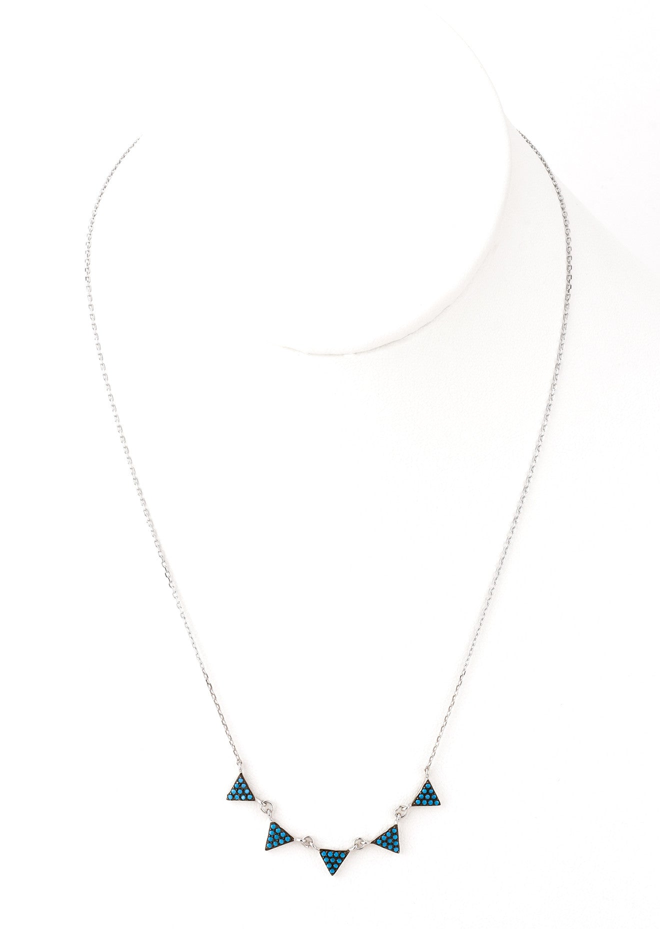 Black & Turquoise Triangle Pendant - Silver 925