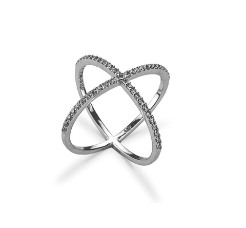 Cross Ring Silver CZ Stone In Silver 925