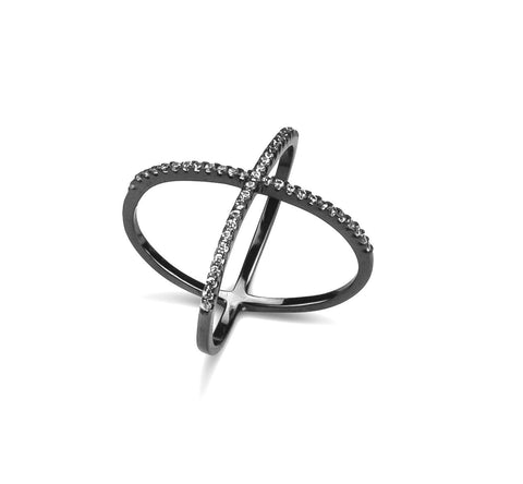 Cross Ring Rhodium CZ Stone In Silver 925