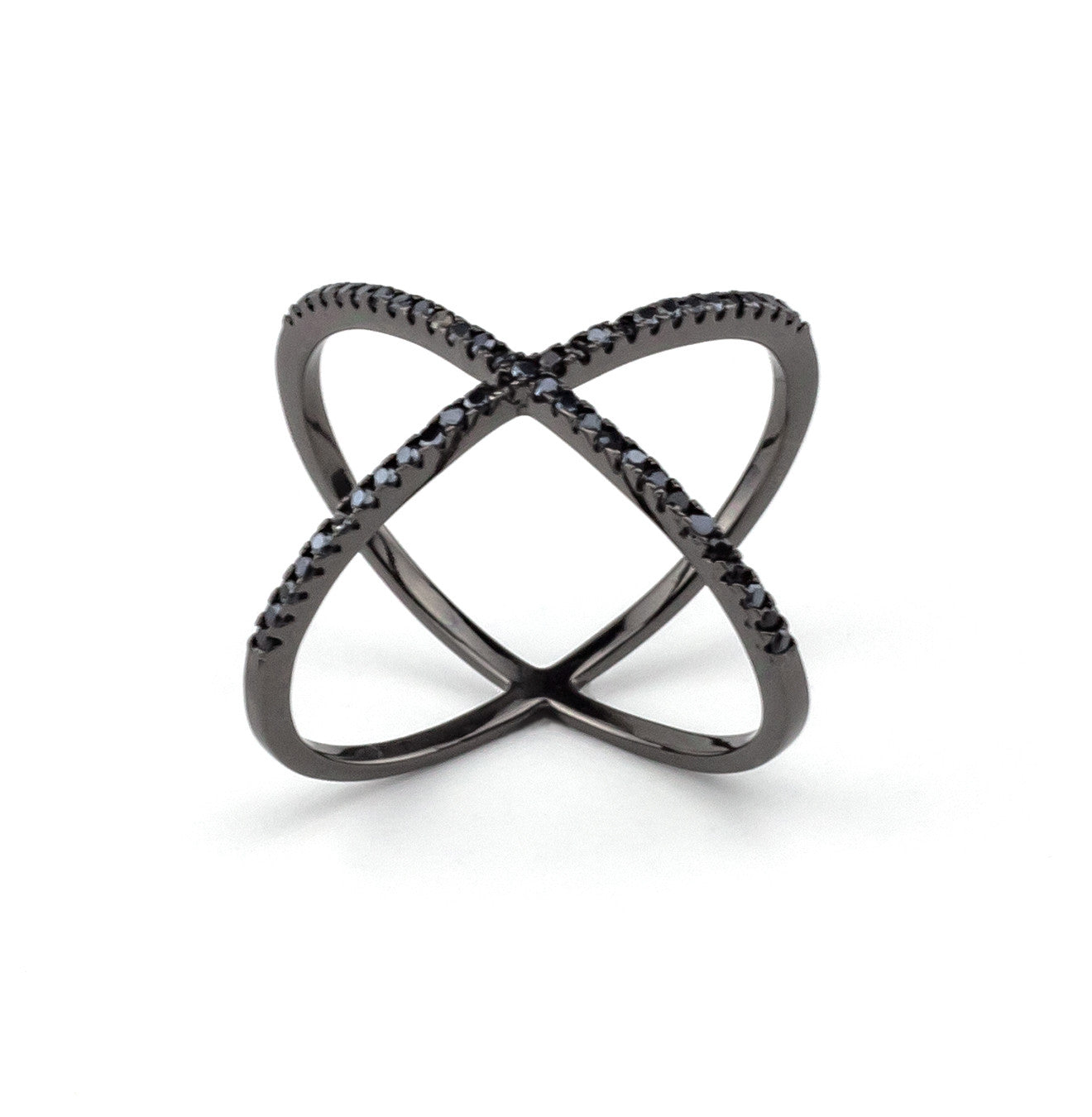 Black Cross Ring In Silver 925