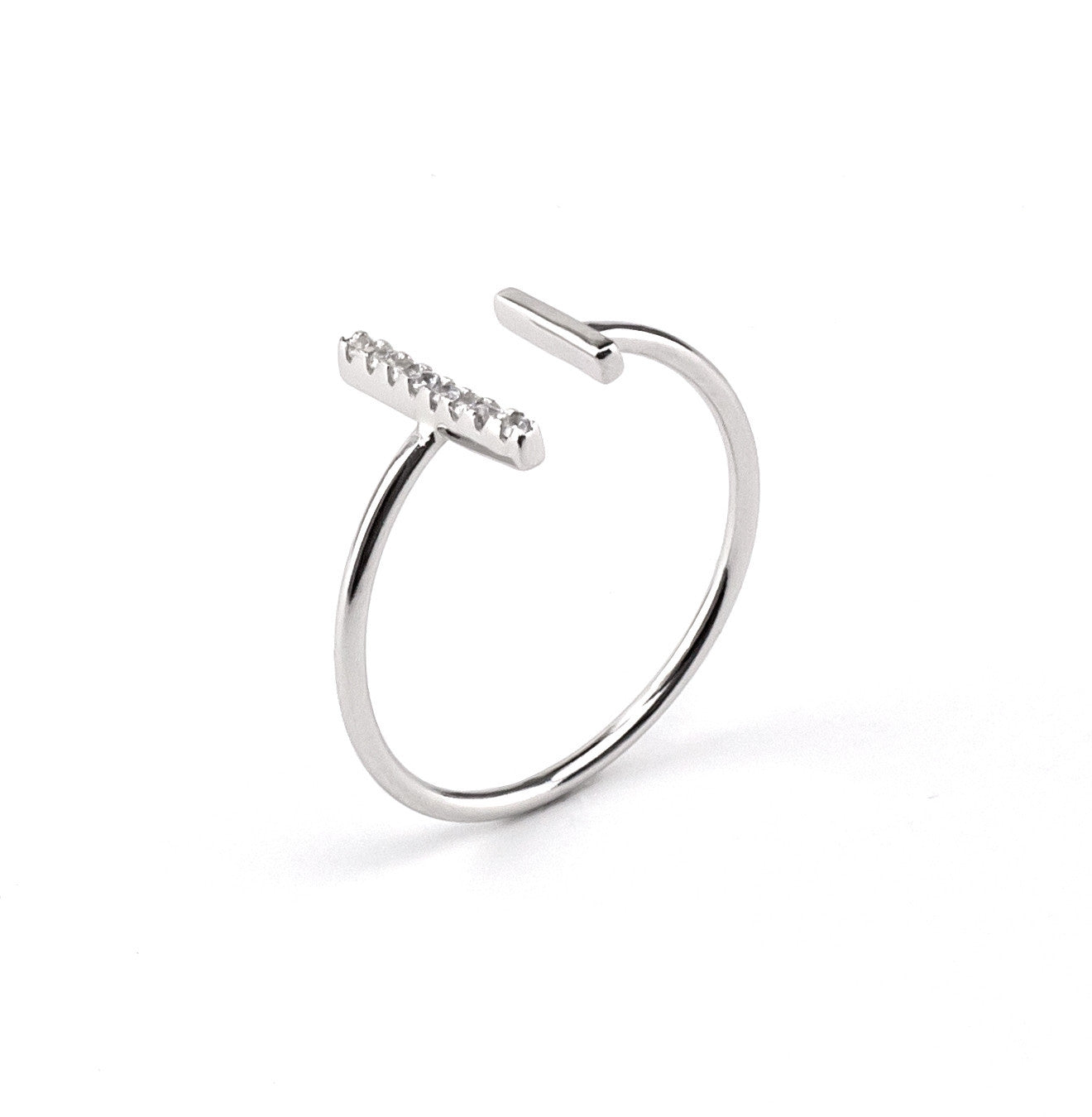 Double T Cubic Zirconia Ring In Silver 925