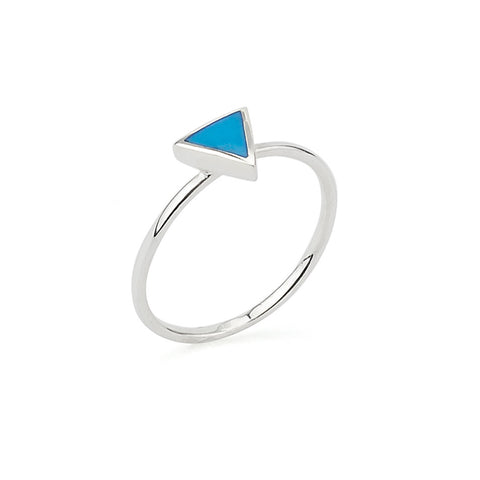 Triangle Turquoise Geometric Shape Delicate Ring in Silver 925