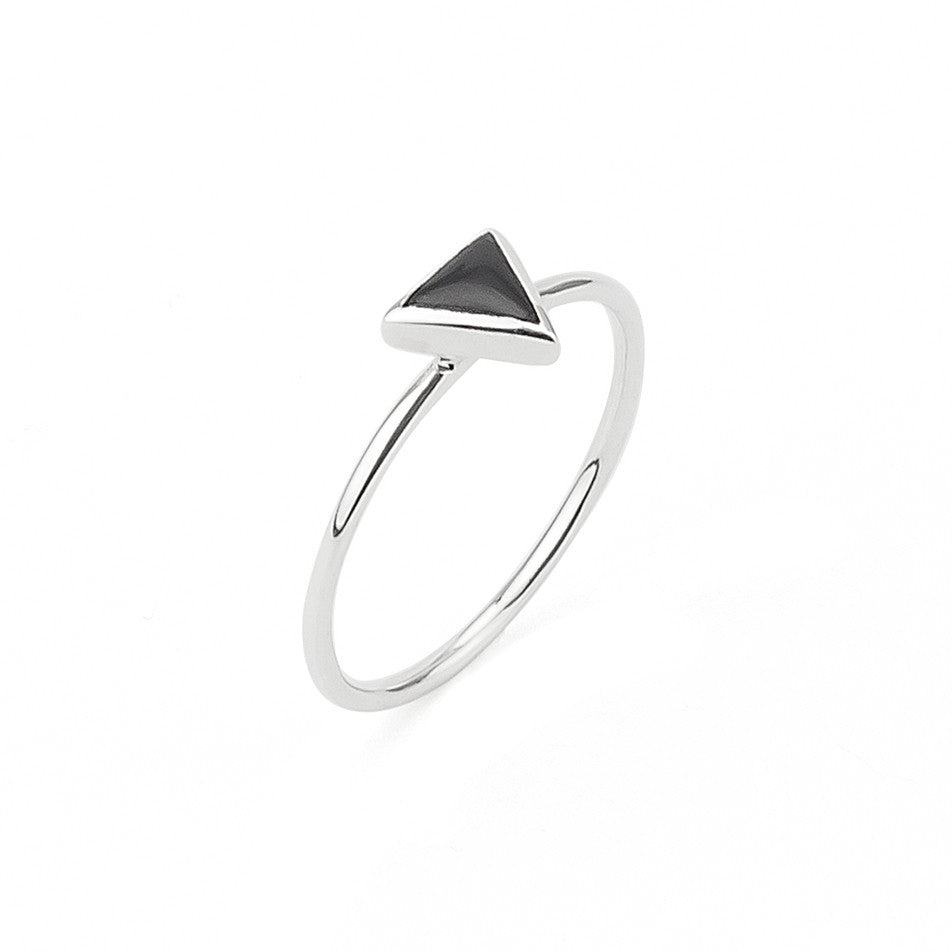 Triangle Black Geometric Shape Delicate Ring in Silver 925