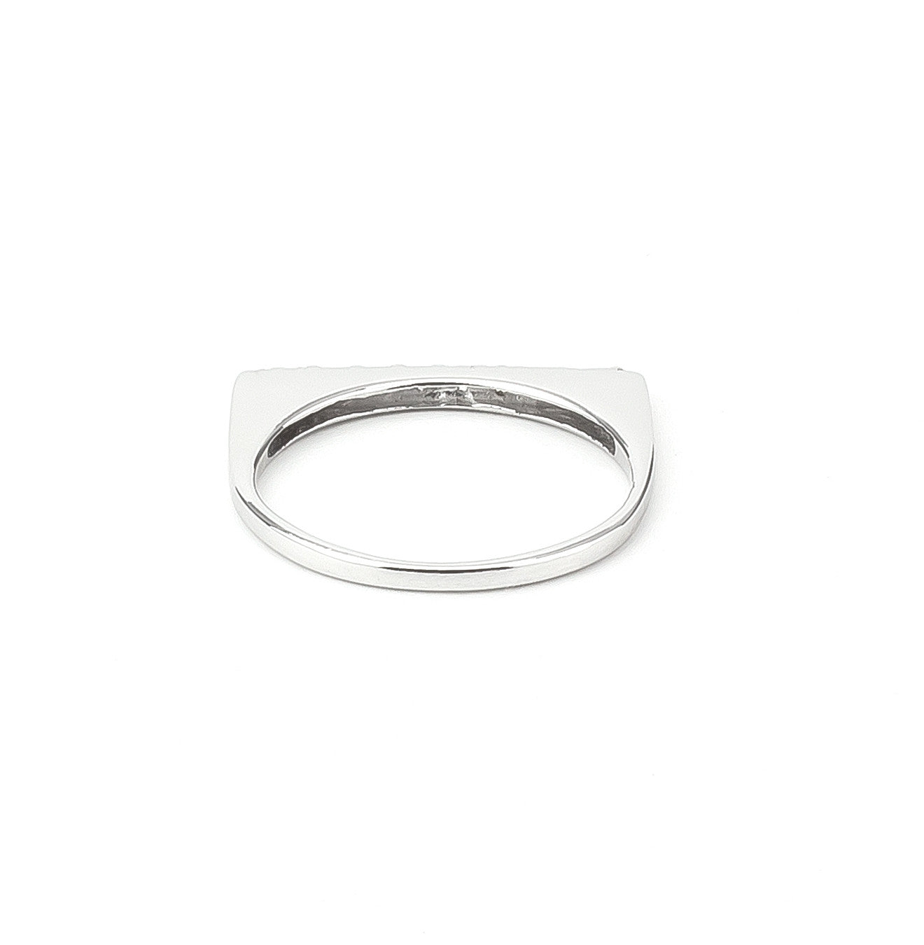 Flat Top Zirconia Bar Stackable Ring in Silver 925