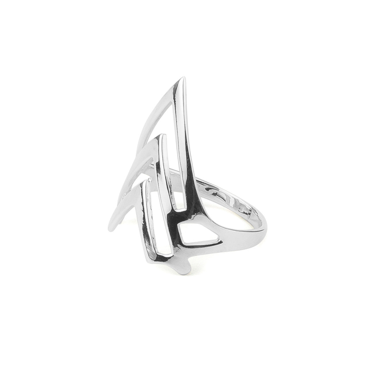 Triple Chevron Statement Ring in Silver 925