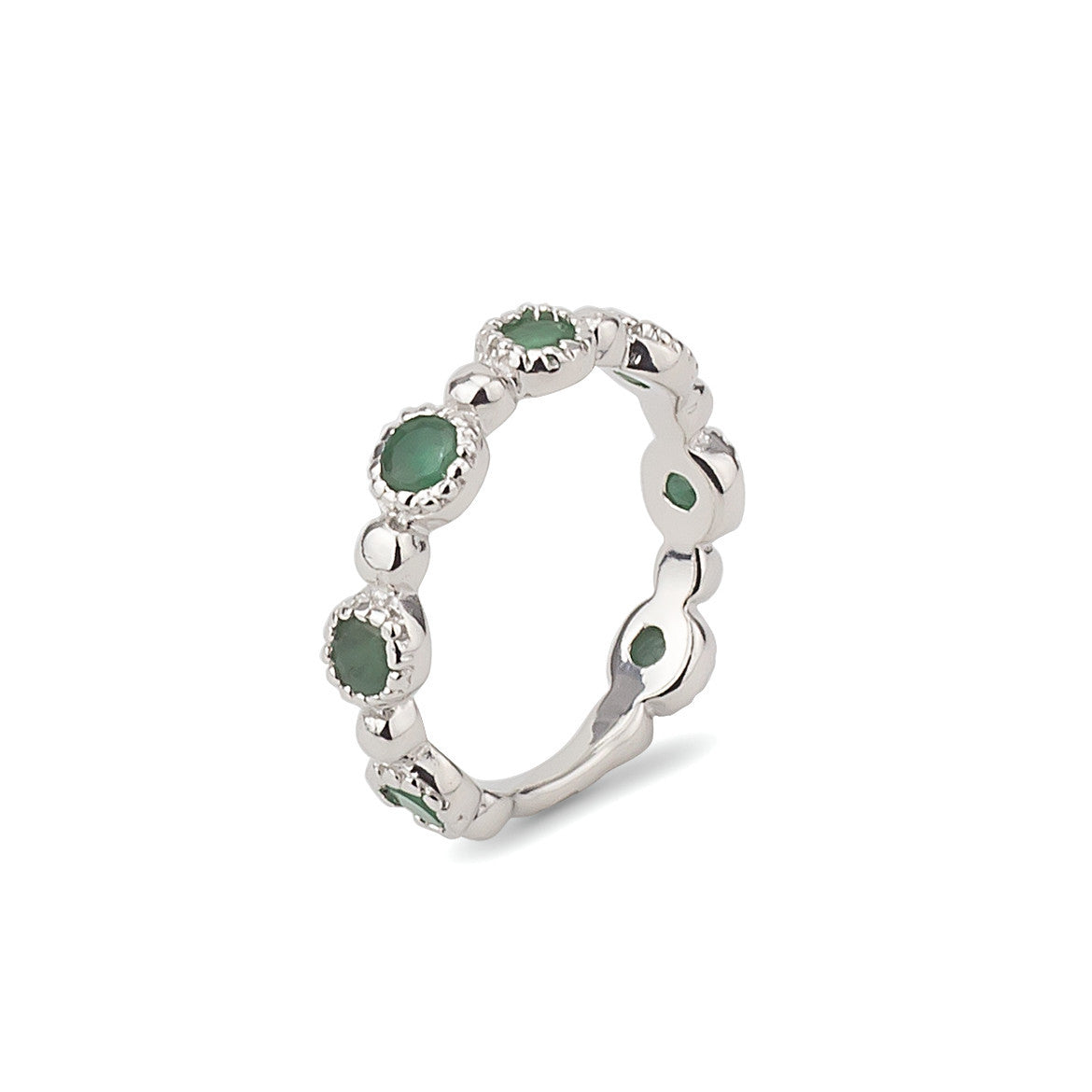 simulated four leaf emerald silver green sterling jewelry mdr ring rings bling clover stacked