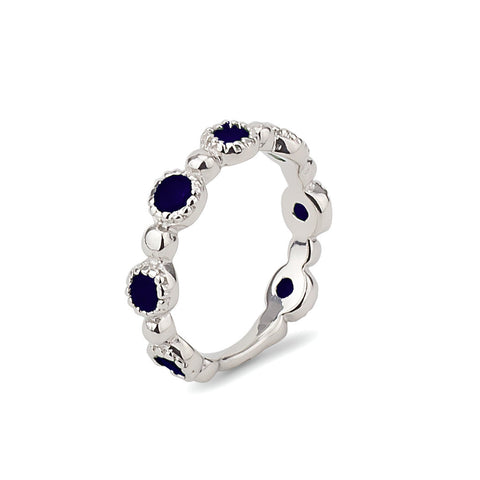Dark Blue Half Eternity Stackable Sterling Silver 925 Ring