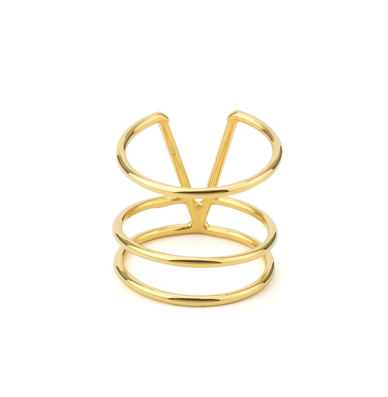 V Shaped Triple Bar Sterling Silver 925 Ring - Yellow Gold