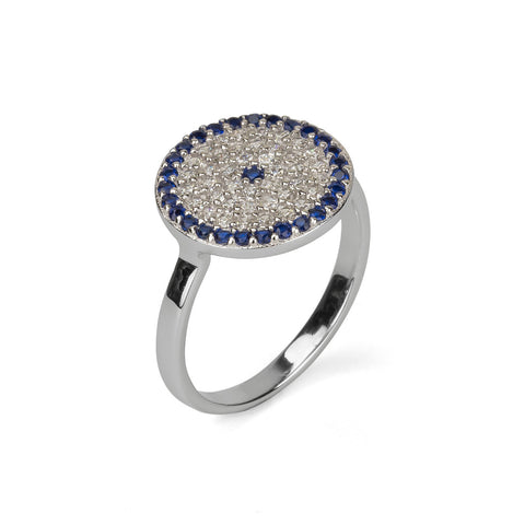 Evil Eye Round Shape Statement Ring Silver 925