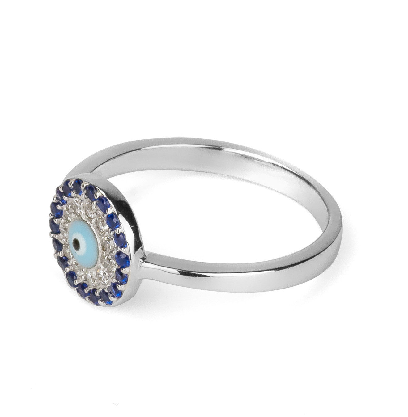 Evil Eye Light Blue Round Shape Ring Silver 925