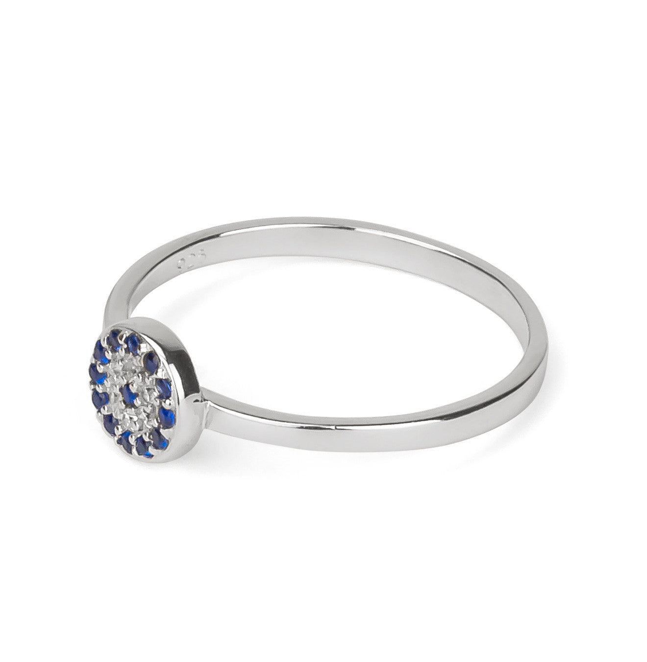 Evil Eye Stackable Round Shape Ring Silver 925