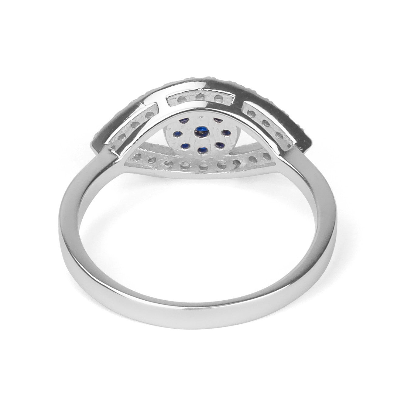 Evil Eye Pave Zirconia Ring Silver 925