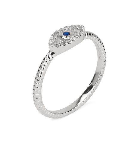 Evil Eye Pave Stackable Ring Silver 925
