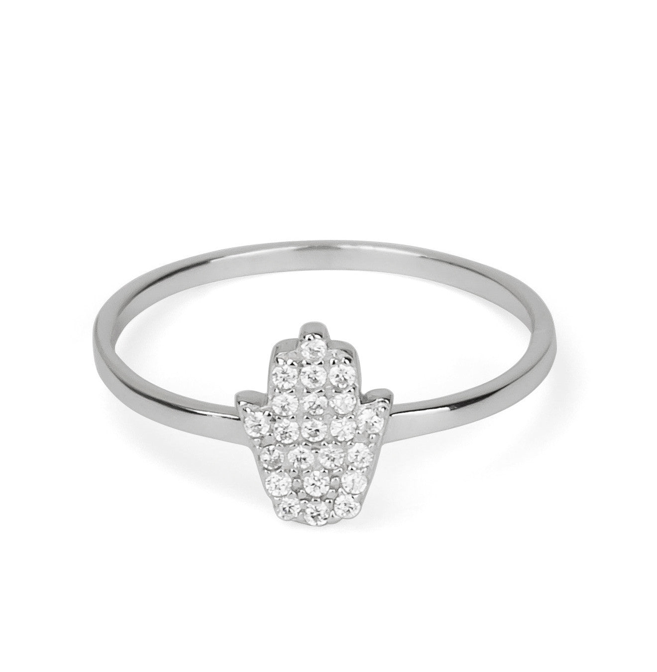 Hamsa Hand Delicate Stackable Ring Silver 925