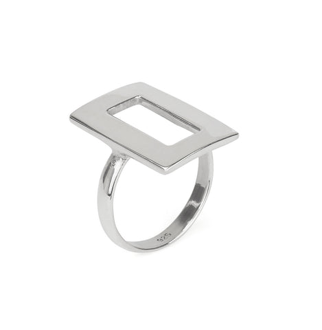 Rectangular Frame Statement Ring in Silver 925