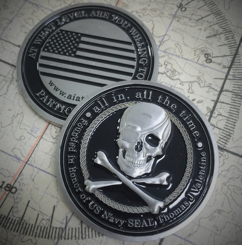 ALL IN Black Challenge Coin - All In All The Time Foundation