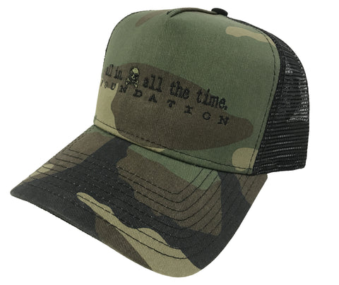 ALL IN Low Profile Woodland Trucker Hat - All In All The Time Foundation