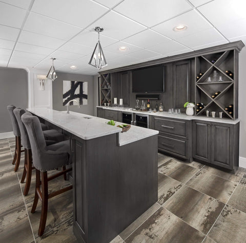 grey scale kitchen with wooden grey cabinets