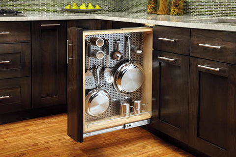 Base Cabinet Pullout Organizer with Stainless Panel