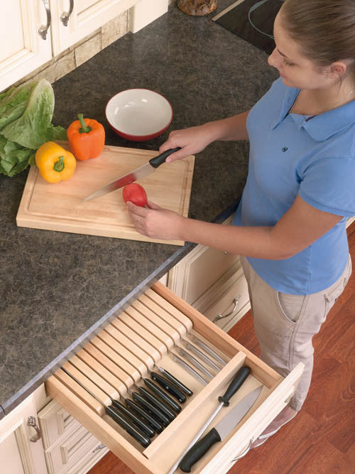 Cut-To-Size Insert Wood Knife Organizer for Drawers