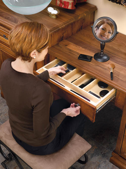 Cut-To-Size Insert Wood Utensil Organizer for Drawers