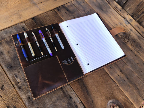 The Draper - Custom Leather Folio Notebook, Hotchkiss Leather