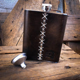'Poison' Leather Wrapped Hip Flask