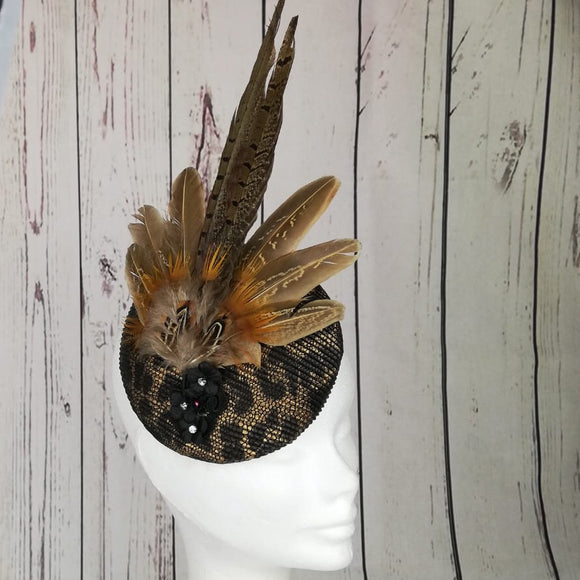 Leopard Print and feather fascinator - My Fascinators