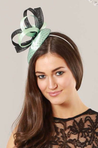Baby blue and black Fascinator hat