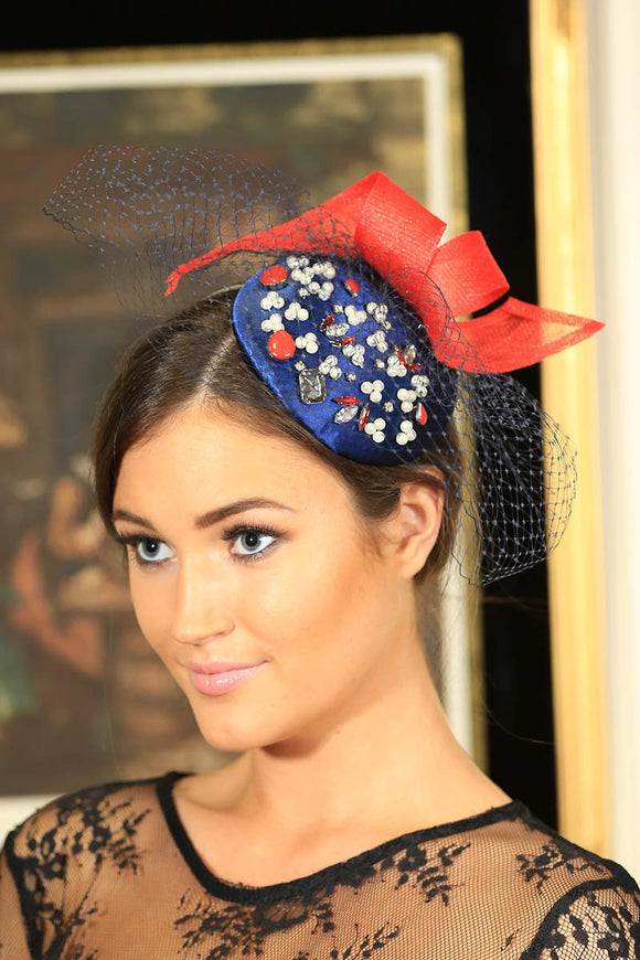 Navy and red beaded fascinator
