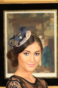 Gold and navy fascinator - myfascinators.com