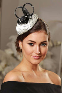 black and cream fascinator hat - myfascinators.com