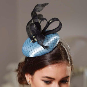 baby blue and black fascinator