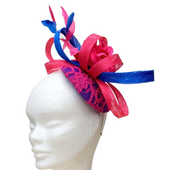 Royal blue and pink fascinator - Embellish Moi  - 1