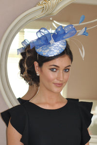 Bespoke Blue and cream Fascinator - LadyVB   s.r.o - 1